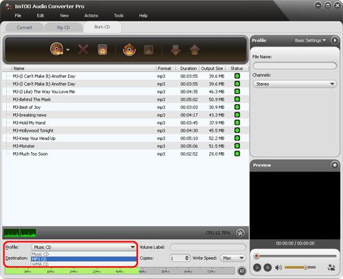 ImTOO Audio Converter Pro - Output