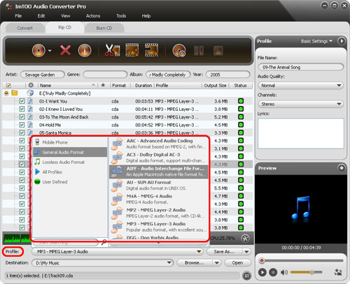 ImTOO Audio Converter Pro - Set output profile