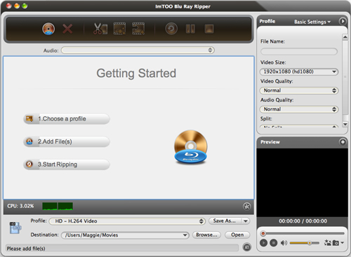 ImTOO Blu Ray Converter for Mac Guide - Interface