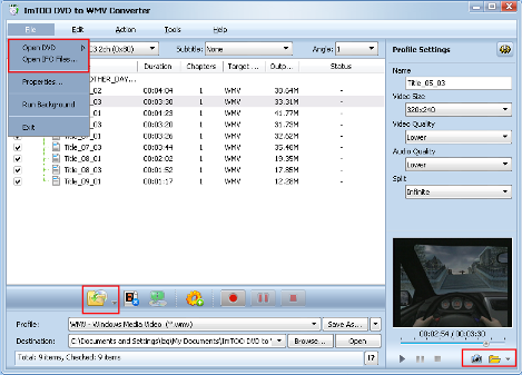 ImTOO DVD to WMV Converter Guide - Add DVD