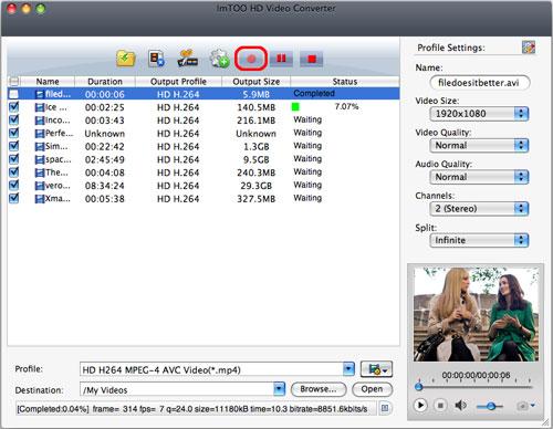 ImTOO HD Video Converter for Mac - Convert
