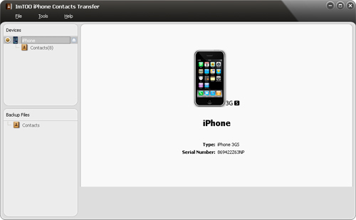Transfer contacts from iPhone to computer - interface