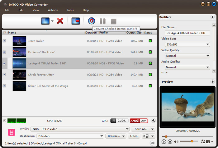 ImTOO HD Video Converter Screenshot